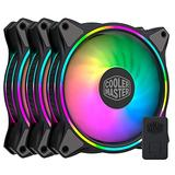 Cooler Master Master Fan MF120 Halo Duo-Ring Addressable RGB Lighting 120mm 3 Pack with Independently-Controlled LEDS, Absorbing Rubber Pads, PWM Static Pressure for Computer Case & Liquid Radiator