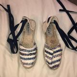 Anthropologie Shoes | Anthropologie Lace Up Sandals | Color: Blue/White | Size: 7