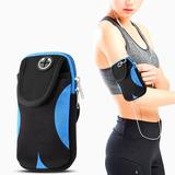 Universal Running Fitness Phone Pouch With Adjustable Sports Armband - Black/Blue For iPhone 4S