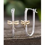 Willowbird Women's Earrings Silver - Cubic Zirconia & Two-Tone Dragonfly Hoop Earrings