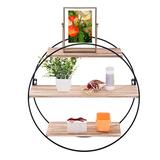 Round Wall Shelves,Circle Floating Shelf,3 Tier Geometric Round Wall Shelves Decorative Wood and Metal Hanging Shelf,Decorative Wall Shelf for Bedroom,Living Room, Kitchen,Office19.68x19.68x7.48in