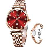 Rose Gold Watches for Women Waterproof Stainless Steel,OLEVS Luxury Casual Ladies Gold Watch with Small Faces,Womens Wrist Watch, Waterproof Classic Quartz Simple Wristwatch Red Dial,relojes de Mujer