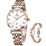 OLEVS Rose Gold Womens Watch,Luxury Diamonds Stainless Steel Case Waterproof Fashion White Dial Small Face Ladies Watches with Date and Time Analog Display Japan Quartz Watches for Women Have Battery