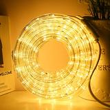 33ft LED Rope Lights,110V 2 Wire Connectable Christmas Rope Lights Outdoor,240 LED Waterproof Indoor Outdoor Warm Rope Lights for Deck, Patio, Pool, Camping, Landscape Lighting (Warm White)