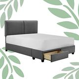 Finch Maxwell Upholstered Platform Bed with Storage Tufted Adjustable Height Headboard, Queen Size, Dark Gray
