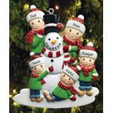 Personalized Planet Ornaments - Green & Red Building a Snowman Family of Five Personalized Ornament