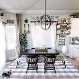 EARTHALL Buffalo Plaid Rug Grey and White 5x7 Area Rug, Cotton Hand-Woven Washable Indoor Outdoor Area Rug Farmhouse/Dining Room/Bedroom/Living Room Rug (59''x78'')