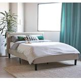 Divano Roma Furniture Upholstered Tufted Headboard & Bed Frame-32 Tall Stitched Platform Panel, Low Profile Bedframe Mattress Foundation/Solid Wood Slat Base – No Box Spring Needed Ivor, Twin, Ivory