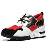 Leopard Hidden Wedge Sneakers for Women - High Heeled Lace up Sneaker for Women Casual Walking Shoes RTW06-RED-8