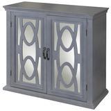 "StyleCraft SC-DCA8324 Sea Grit 36"" Wide Contemporary 2 Shelf Glass Accent Cabinet Gray / Mirror"