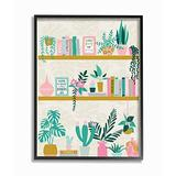 Stupell Industries Chic Cottage Bookshelf with Tropical Plant Greenery Wall Art, 24 x 30, Multi-Color