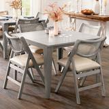 Madeira Folding Table & Chairs - Mocha/Marble Bone/Cane, Mocha, Cane - Grandin Road