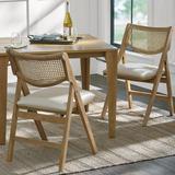 Madeira Folding Chairs, Set Of Two - Mocha/Marbled Bone/Upholstered, Mocha, Upholstered - Grandin Road