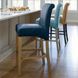 Valencia Bar & Counter Stool - Light Chestnut/Marbled Caspian Blue Bonded Leather, Light Chestnut, Bar Height - Grandin Road