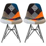 2xhome - Set of Two (2) Multicolor - Modern Upholstered Side Fabric Chair Patchwork Multi-Pattern Black Eiffel Wire Base Dining Room Chair No arm