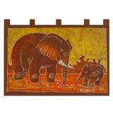World Menagerie Elephant Child Unique African Batik Cotton Tapestry Cotton in Brown/Orange/Red, Size 27.0 H x 31.5 W in | Wayfair 113611
