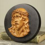 Astoria Grand Agony of Christ Hand Carved Teakwood Sculpture Depicting Jesus Wall Decor Wood in Black/Brown, Size 6.8 H x 6.8 W in | Wayfair 246326