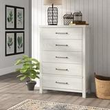 Birch Lane™ Teagan 5 Drawer Chest Wood in Brown/White, Size 56.0 H x 40.0 W x 18.0 D in   Wayfair 538F1FA351D048BB80681EB7A52E76B4