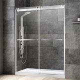 "WoodBridge 27.5"" - 31"" W x 76"" H Double Sliding Frameless Shower Door Tempered Glass in Gray, Size 76.0 H x 60.0 W in   Wayfair SDD6076-C"