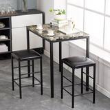 Ebern Designs Surrell 3 Piece Counter Height Dining SetMetal/Upholstered Chairs in Black/Brown, Size 32.0 H x 36.0 W x 24.0 D in   Wayfair