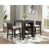 Gracie Oaks Ingertha 3 - Piece Counter Height Dining Set Wood/Upholstered Chairs in Brown/White, Size 36.0 H x 28.0 W x 36.0 D in   Wayfair