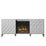"""Etta Avenue™ Carrieann TV Stand for TVs up to 65"""" w/ Electric Fireplace Included Wood in White, Size 23.63 H in   Wayfair"""