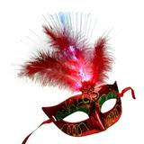 BNJ Women's Venetian Ledfiber Masquerade Fancy Dress Princess Feather Mask Party Favor, Plastic in Red | Wayfair LB200702153141004