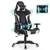 Costway Reclining Swive Massage Gaming Chair-White