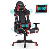Costway Reclining Swive Massage Gaming Chair-Red