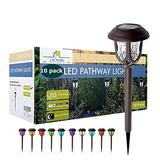10 Pack Color Changing Solar Lights Outdoor Decorative, Solar Pathway Lights Outdoor, Solar Powered Garden Yard Lights for Walkway Sidewalk Driveway. (Brown, Colored)
