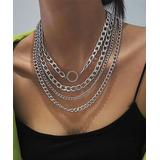 MICALLA Jewelry Women's Necklaces Silver/Silvertone - Crystal & Silvertone Curb Chain Layer Necklace
