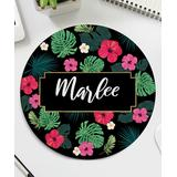 Personalized Planet Mouse Pads - Black & Fuchsia Tropical Personalized Round Mouse Pad
