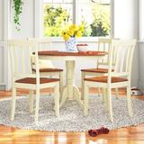 Alcott Hill® Maffra Rubberwood Solid Wood Dining Set Wood in White/Brown, Size 29.5 H x 42.0 W x 42.0 D in | Wayfair