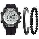 BUREI Mens Black Analog Digital Sports Watch with Stainless Steel Bracelet and Bead Bracelet Combination Set