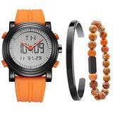 BUREI Mens Orange Analog Digital Sport Watch with Stainless Steel Bracelet and Bead Bracelet Combination Set