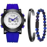 BUREI Men's Blue Analog Digital Watch with Stainless Steel Cuff Bangle and Bead Bracelet Combination Set
