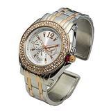 Blekon Collections Analog Quartz Women's 34mm Case Double Rhinestone Bezel Cuff Metal Bangle Watch (Silver/Rosegold)