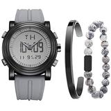 BUREI Men's Gray Analog Digital Watch with Stainless Steel Cuff Bangle and Bead Bracelet Combination Set
