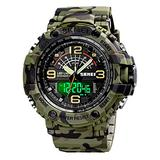 Military Watches Mens Digital Watches Outdoor Sports Watch Multifunctional Chronograph 50m Waterproof Dual Time Analog Watch