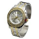Blekon Collections Analog Quartz Women's 34mm Case Double Rhinestone Bezel Cuff Metal Bangle Watch (Silver/Gold)
