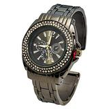 Blekon Collections Analog Quartz Women's 34mm Case Double Rhinestone Bezel Cuff Metal Bangle Watch (Gun-Metal)