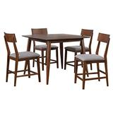 Sunset Trading Mid Century 5 Piece Square Counter Height Pub Table Dining Set | Padded Performance Fabric Seats, Danish Walnut