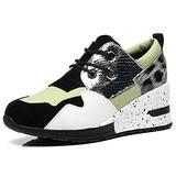Leopard Hidden Wedge Sneakers for Women - High Heeled Lace up Sneaker for Women Casual Walking Shoes RTW06-GREEN-6.5