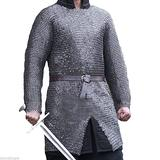 THE MEDIEVALS 9 MM ID MS Flat Riveted Hauberk Chain Mail Armor Full Sleeve Shirt - Natural Oiled Finish, XX-Large