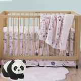 Brandream Panda Baby Girls Crib Bedding Set Cute Pink Nursery Bedding Crib Sets Rainborn Cloud Design (3 Pieces Baby Bedding Sets) 100% Cotton