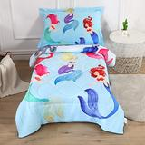 Wowelife Mermaid Toddler Bedding Set 4 Piece with Comforter, Flat Sheet, Fitted Sheet and Pillowcase(Mermaids)