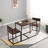 SDHYL 3 Piece Dining Set Dining Table Set with 2 Chairs Breakfast Table for Kitchen, Coffee Table Set, Home Office Table Set, Computer Table for 2, Portable Table Set, Walnut, S7-LD-CT01WNT-US