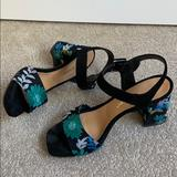 Anthropologie Shoes   Anthropologie Womens Embroidered Sandals Shoes   Color: Black/Green   Size: 8