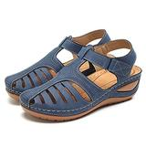 Camfosy Womens Summer Sandals, Wedge Sandals for Women Mules Clogs with Ankle Strap Flat Summer Shoes Wide Width Casual Strappy Sandal Lightweight Beach Flip Flops Blue 12