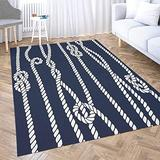 Dethel Navy Blue Area Rug 2X3 Marine Rope Knot Navy White Ornament Nautical Knots Dark for Home Décor,Indoor,Living,Dining Room Contemporary Area Rugs Small Area Rugs for Kids